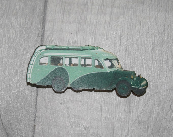 Vintage Green Bus Brooch, Wooden Coach Brooch, Bus Badge, Wood Jewelry