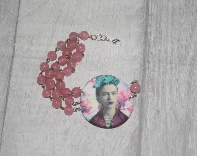 Pink Frida Bracelet, Flower Bracelet, Flower Bar Bracelet