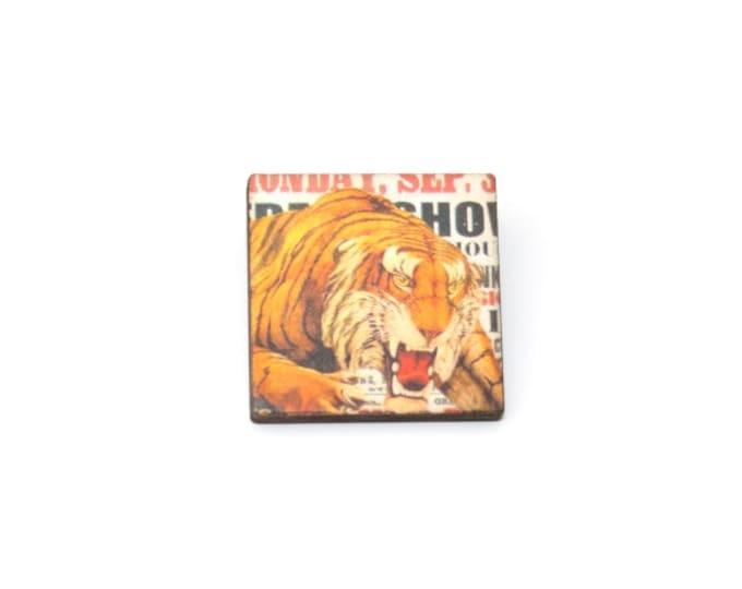 Tiger Brooch, Circus Brooch, Wooden Tiger Badge, Circus Illustration, Animal Brooch, Wood Jewelry