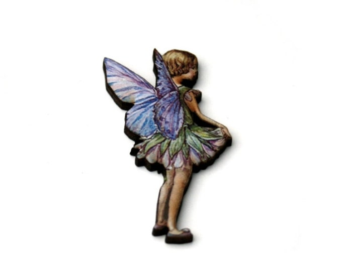 Purple Fairy Brooch, Faerie Illustration Brooch, Pixie Jewelry, Wood Brooch, Wood Jewelry
