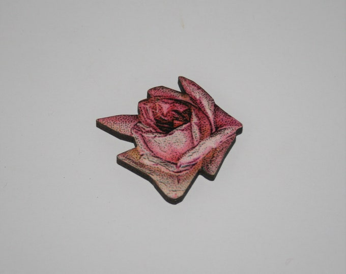 Pink Flower Brooch, Pretty Badge, Vintage Floral Illustration, Wood Jewelry, Retro Pin