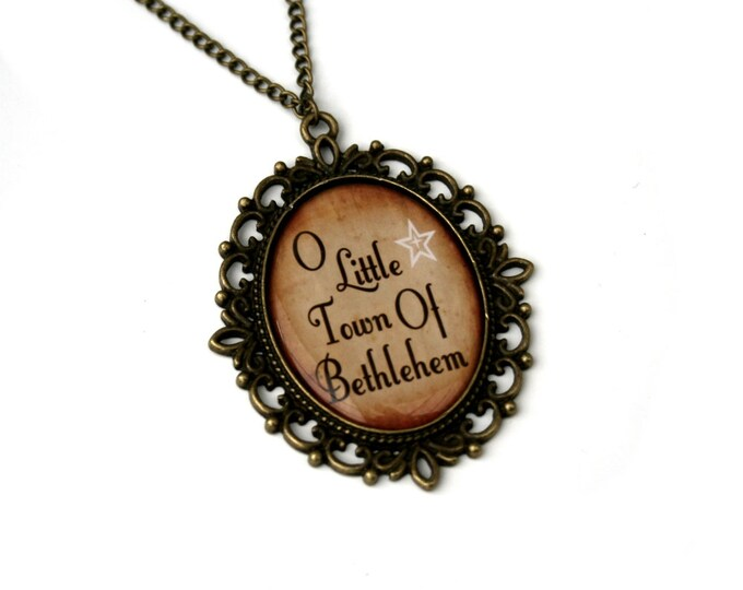 O Little Town Of Bethlehem, Christmas Song Cameo Necklace, Xmas Illustration, Stocking Stuffer