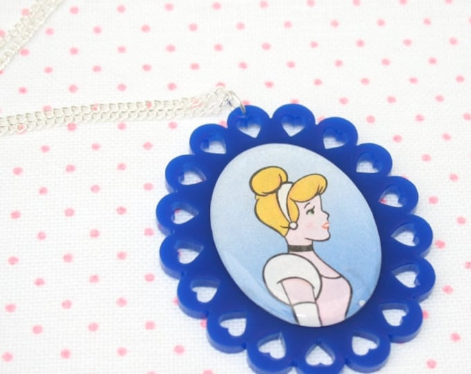 SALE Cinderella Illustration Necklace OOAK