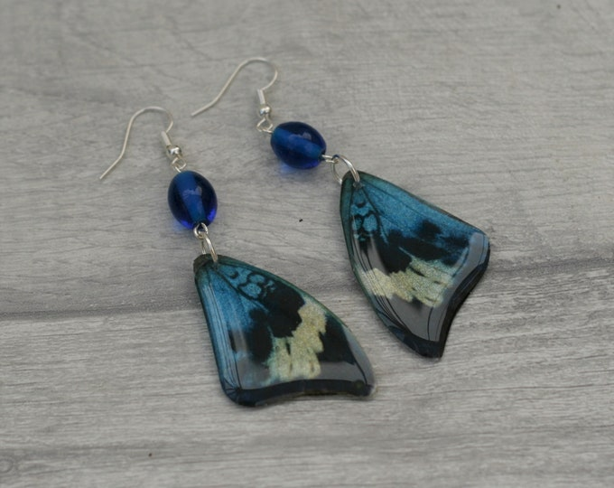 Blue Butterfly Earrings, Butterfly Illustration, Dangle Earrings