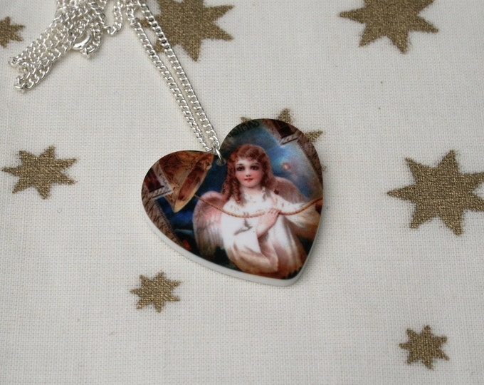 Christmas Necklace, Vintage Angel Illustration Necklace, Heart Necklace