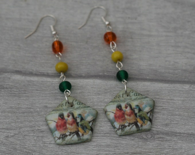 Red, Yellow and Green Bird Statement Earrings, Animal Jewelry