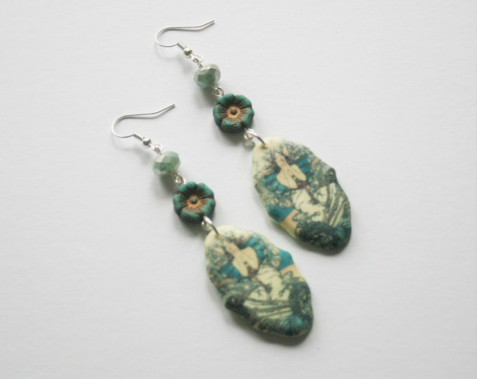 Turquoise Mucha Earrings, Flower Jewelry