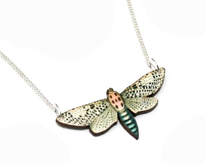 Moth Necklace, Wood Pendant, Illustration Jewelry, Butterfly Necklace, Woodland, Animal Necklace, Wood Jewelry