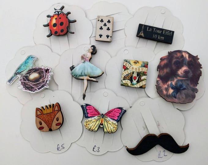 10 x Wooden Brooches - Fox, Butterfly, Bird, Ladybird, Dog, Ballerina (SET 10)