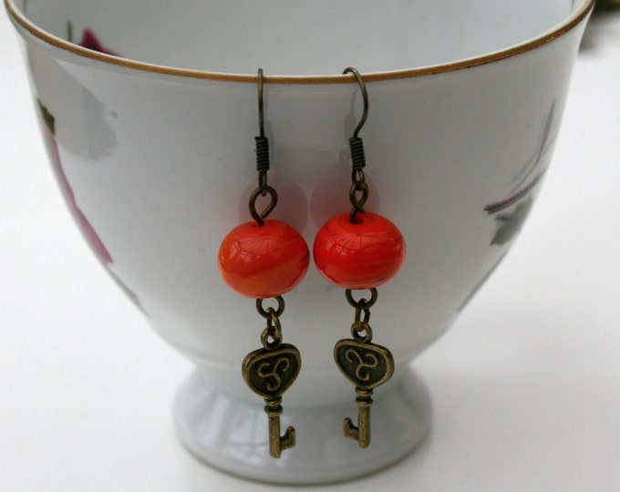Orange Lampwork Bead and Key Earrings, Key Dangle Earrings