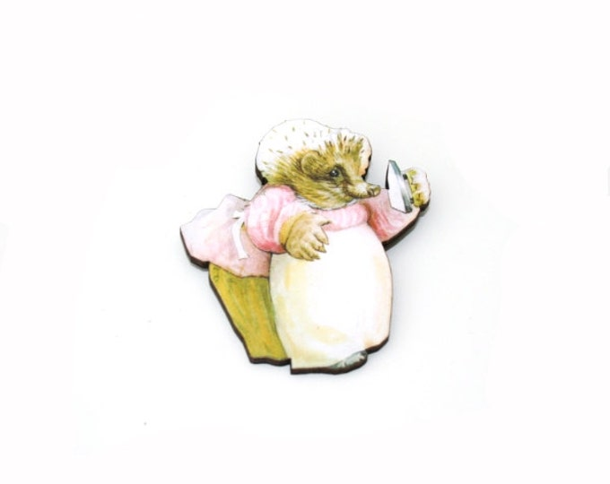 Mrs Tiggy Winkle Brooch, Beatrix Potter Illustration, Wood Jewelry, Animal Brooch, Woodland