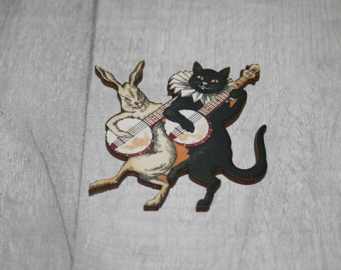 Kitten and Rabbit Brooch, Wooden Cat Badge, Animal Brooch, Wood Jewelry, Kitten Pin