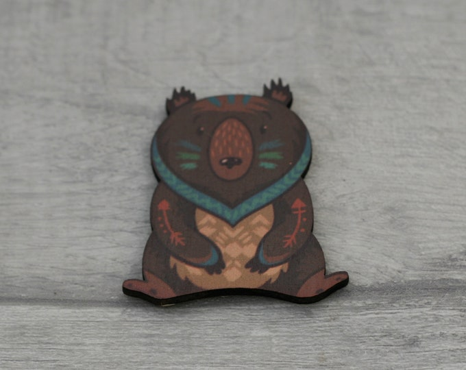 Bear Brooch, Woodland Bear, Wood Jewelry, Animal Brooch