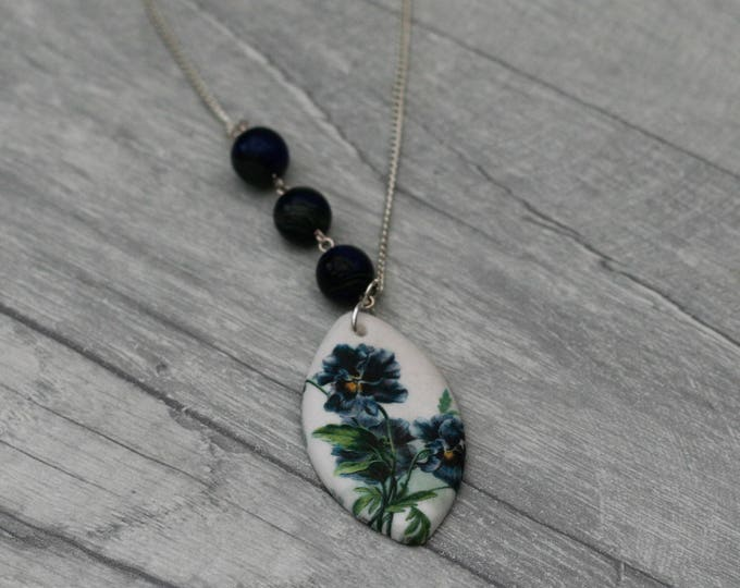 Flower Statement Necklace, Blue Flower Pendant, Woodland, Floral Necklace