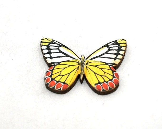 Yellow 'Common Jezebel' Butterfly Brooch, Wood Accessory, Badge Illustration Jewelry, Animal Brooch, Woodland, Wood Jewelry