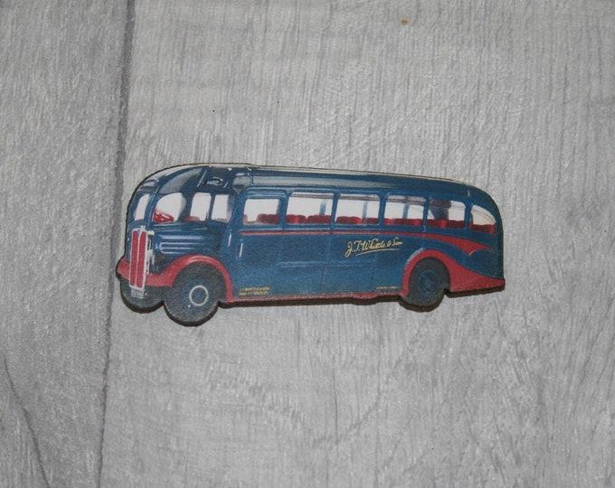 Vintage Blue Bus Brooch, Wooden Coach Brooch, Bus Badge, Wood Jewelry