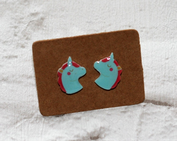 Blue Unicorn Earrings, Teeny Tiny Earrings, Horse Jewelry, Cute Earrings