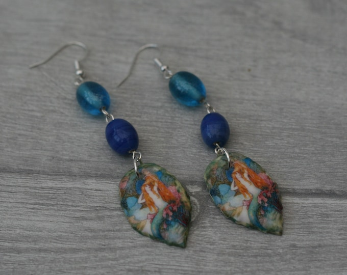 Mermaid Earrings, Blue Statement Dangle Earrings