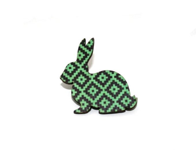 Rabbit Brooch, Easter Bunny, Geometric Illustration, Wood Jewelry, Animal Brooch, Woodland