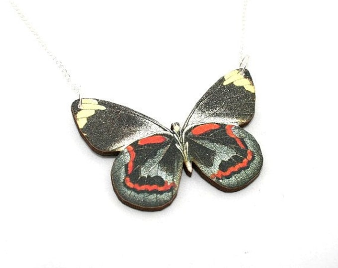 Black & Red Butterfly Necklace, Black Jezebel Necklace, Wood Pendant, Illustration Jewelry, Woodland, Animal Necklace, Wood Jewelry