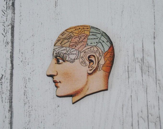 Wooden Brain Psychology Head Brooch / Badge / Pin