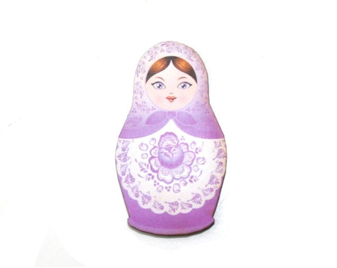 Russian Doll Brooch, Lilac Purple Illustration, Wood Jewelry, Matryoshka Brooch