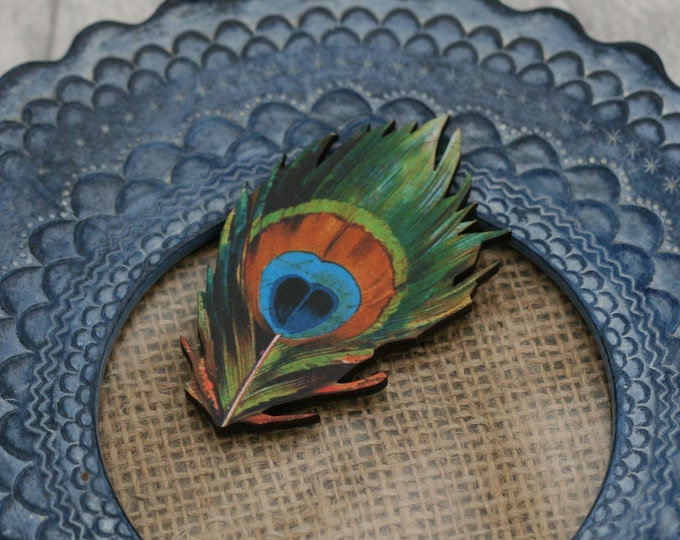 Peacock Feather Brooch, Feather Illustration, Wood Jewelry