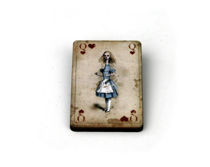 Alice Stretched Brooch, Alice in Wonderland Brooch, Tenniel Illustration