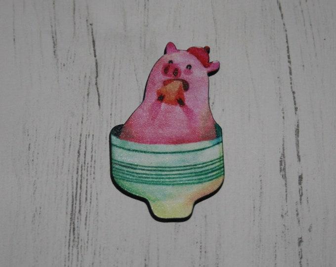 Animal in a Teacup Brooch, Wooden Afternoon Tea Brooch, Teacup Badge, Wood Jewelry