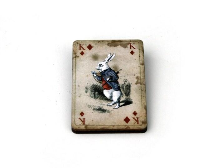 White Rabbit Brooch, Alice in Wonderland Brooch, Tenniel Illustration, Wood Jewelry