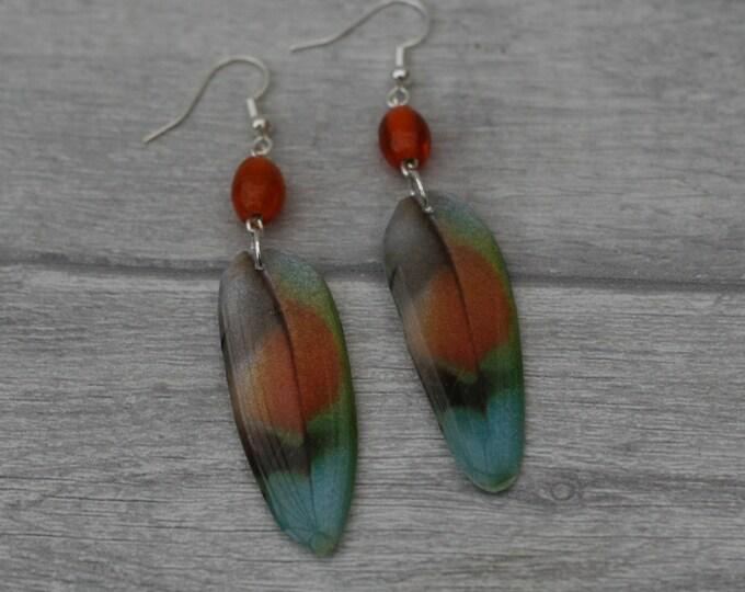 Orange Feather Earrings, Feather Illustration, Dangle Earrings