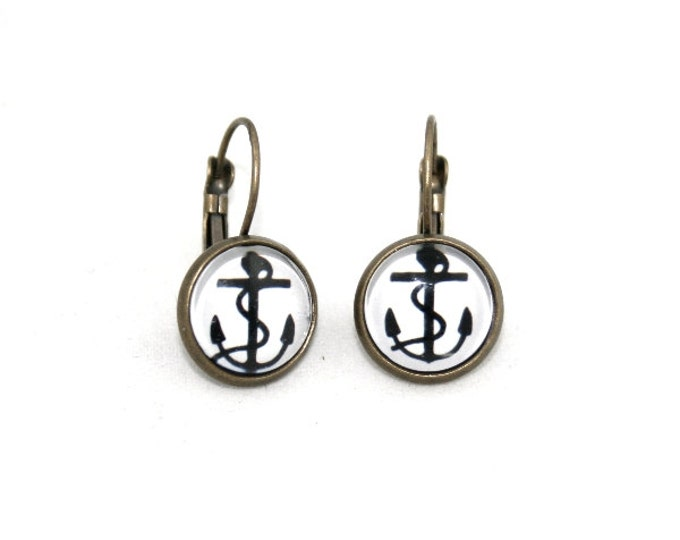 Anchor Earrings, Nautical Illustration, Dangle Earrings