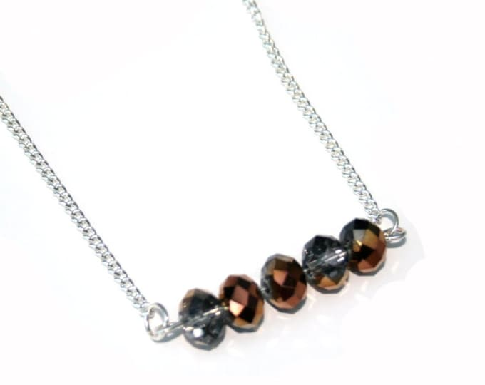 Brown Beaded Bar Necklace, Faceted Glass, Crystal Bar Necklace, Statement Necklace