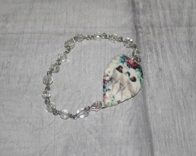 White Bird Bracelet, Bird Bracelet, Bird Bar Bracelet