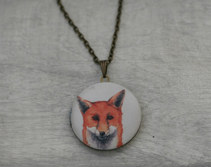 Fox Locket Necklace, Vixen Necklace, Woodland Jewelry