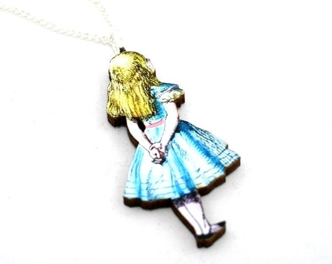 Alice In Wonderland Walking Away Necklace Tenniel Illustration, Wood Jewelry