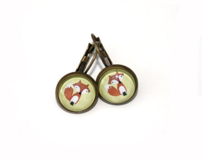 Fox Earrings, Illustration Dangle Earrings, Woodland Fox, Forest Friends
