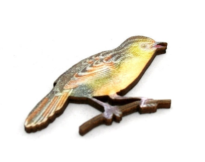 Brown Bird Brooch, Wooden Bird Brooch, Bird Illustration, Woodland, Wood Jewelry