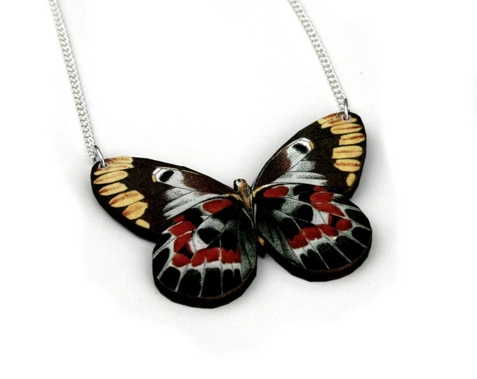 Black & Red Butterfly Necklace, Wood Pendant, Illustration Jewelry, Woodland, Animal Necklace, Wood Jewelry