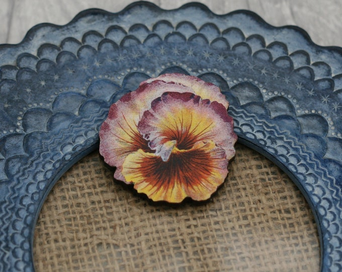 Orange and Purple Flower Brooch, Pretty Pansy Badge, Vintage Floral Illustration, Wood Jewelry, Retro Pin