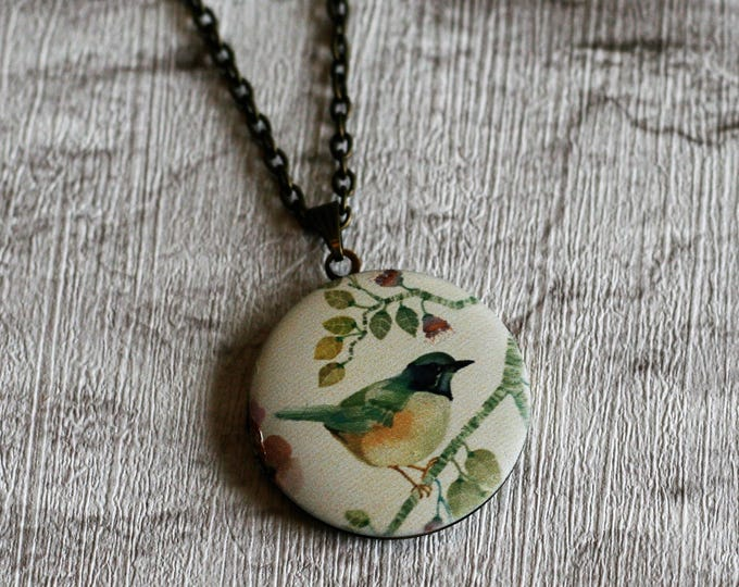 Green Bird Locket Necklace, Bird Necklace, Bird Pendant, Yellow Bird Necklace