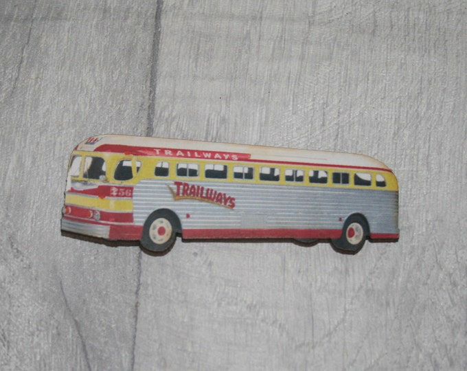 Vintage Bus Brooch, Wooden Coach Brooch, Bus Badge, Wood Jewelry