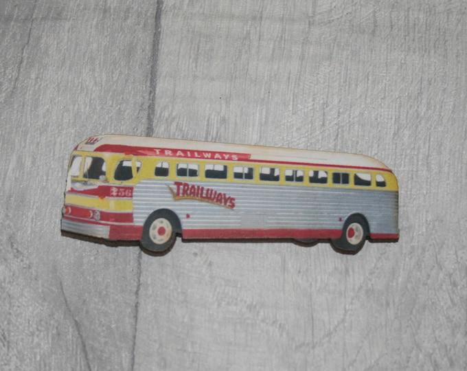Vintage Bus Brooch, Wooden Coach Brooch, Bus Badge, Wood Jewelry