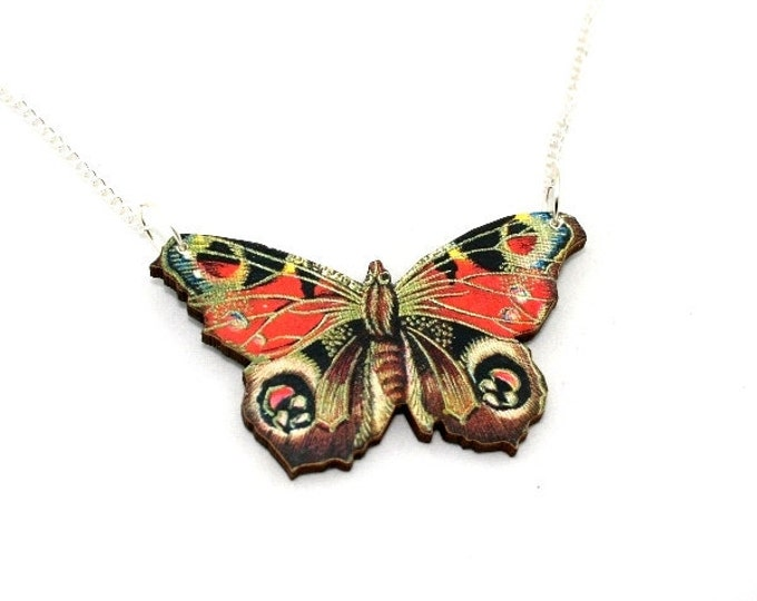 Peacock Butterfly Necklace, Brown & Red Butterfly Necklace, Wood Pendant, Illustration Jewelry, Woodland, Animal Necklace, Wood Jewelry