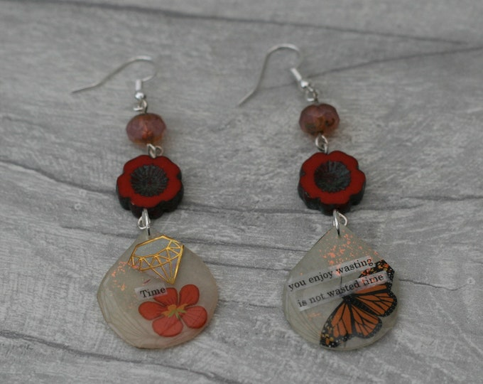 Statement Earrings, Bead and Inspirational Earrings, Monarch Butterfly Earrings