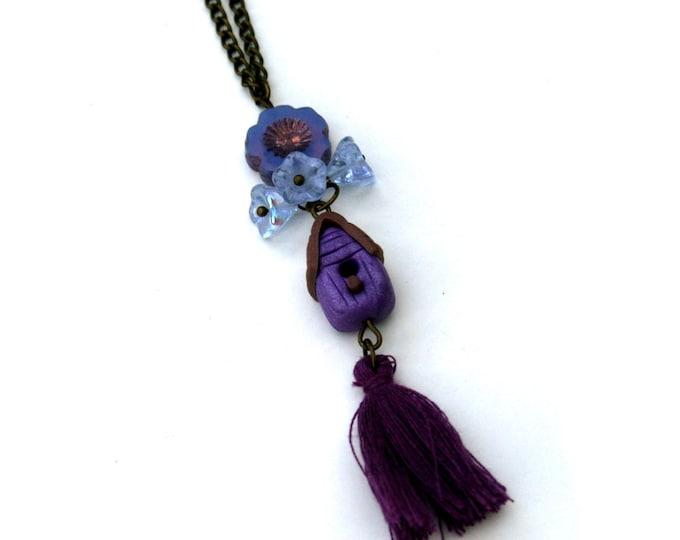 Birdhouse Necklace, Purple Birdhouse Pendant, Woodland, Animal Necklace