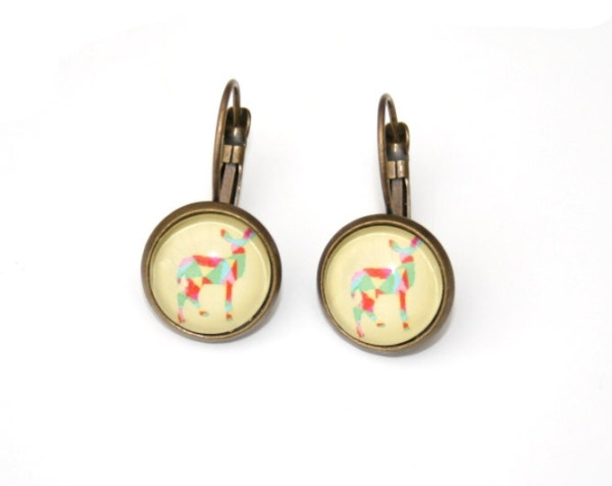 Geometric Deer Earrings, Deer Illustration Dangle Earrings