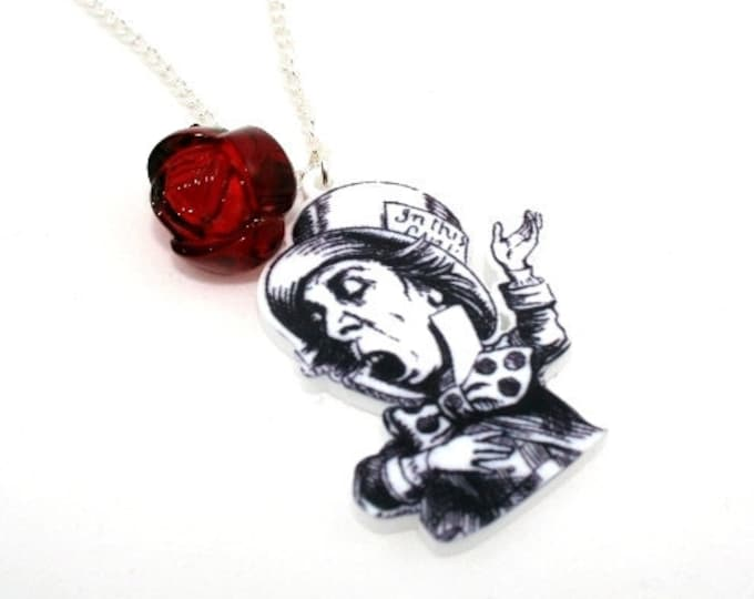 SALE Mad Hatter Necklace, Alice In Wonderland Necklace, Tenniel Illustration, Alice Jewelry
