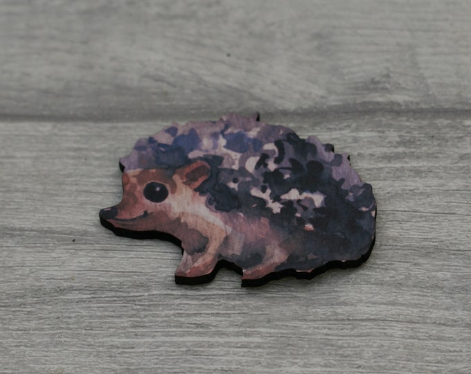 Hedgehog Brooch, Woodland Hedgehog Illustration, Wood Jewelry, Animal Brooch