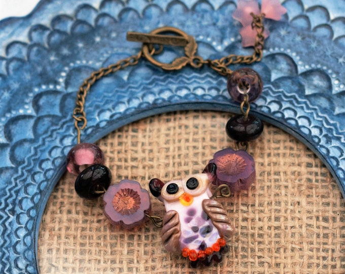 Glass Owl Bracelet, Pink and Purple Owl Bracelet, Flowers and Bird Bracelet